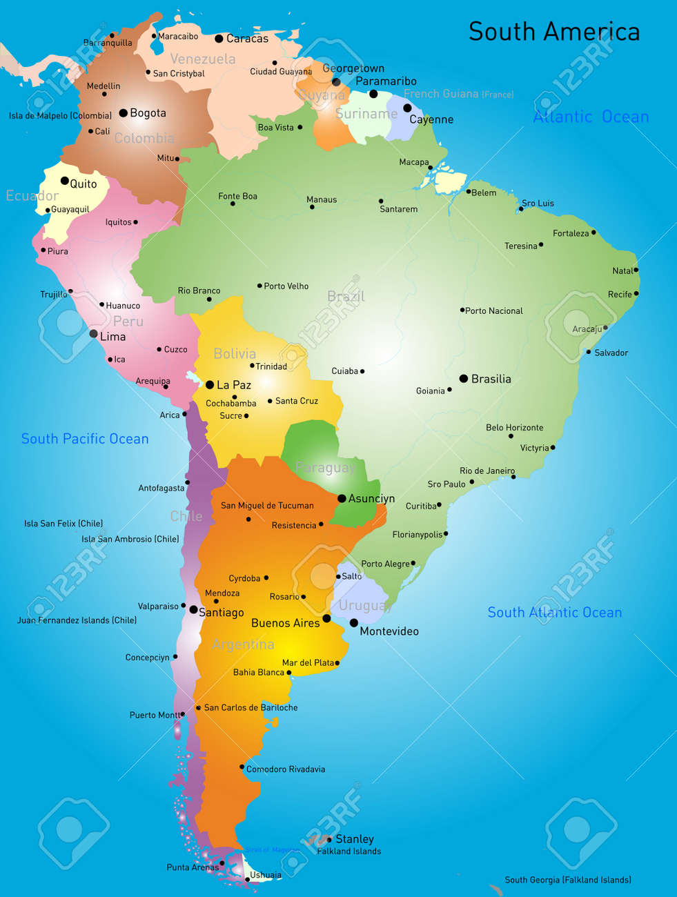 Vector Color Map Of South America Royalty Free Cliparts Vectors - Colored outline map of ecuador