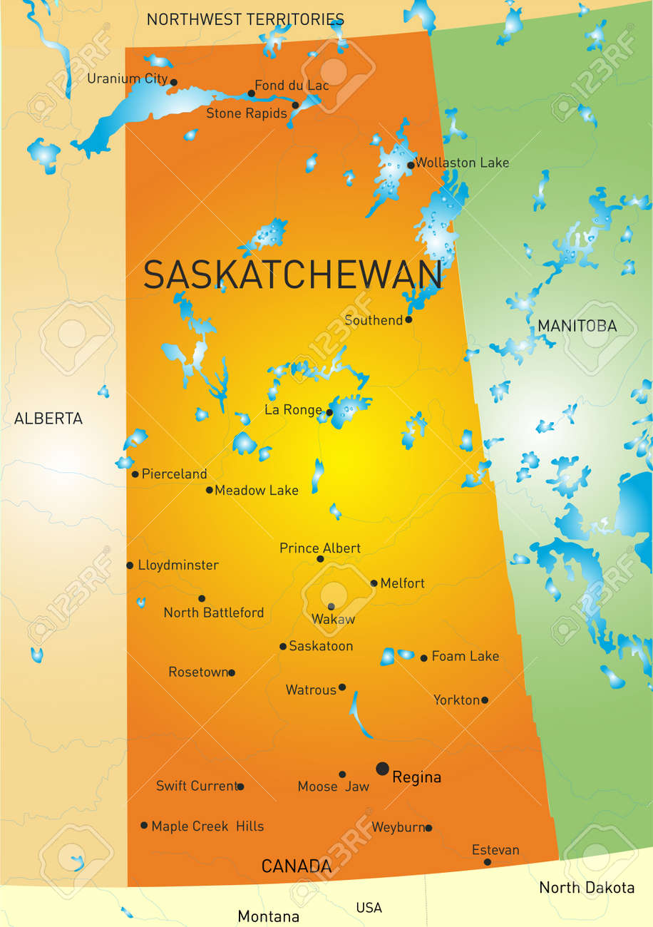 Vector Color Map Of Saskatchewan Province Royalty Free Cliparts - Map of saskatchewan