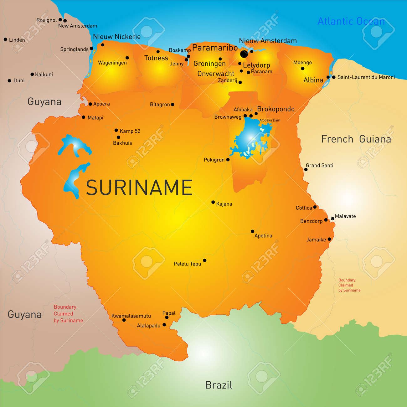 Color Map Of Suriname Royalty Free Cliparts Vectors And Stock