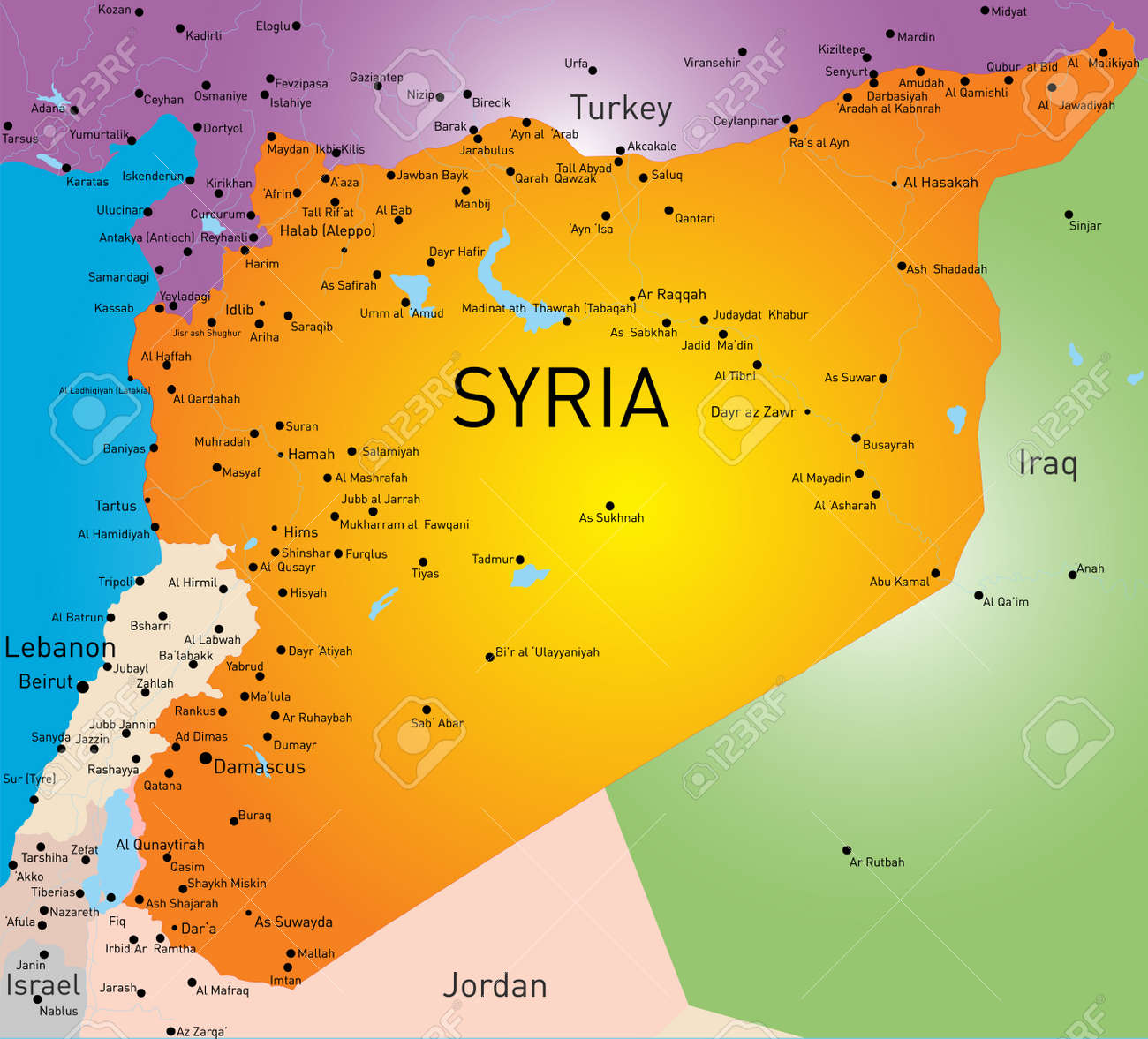Vector Color Map Of Syria Royalty Free Cliparts Vectors And - Map of syria