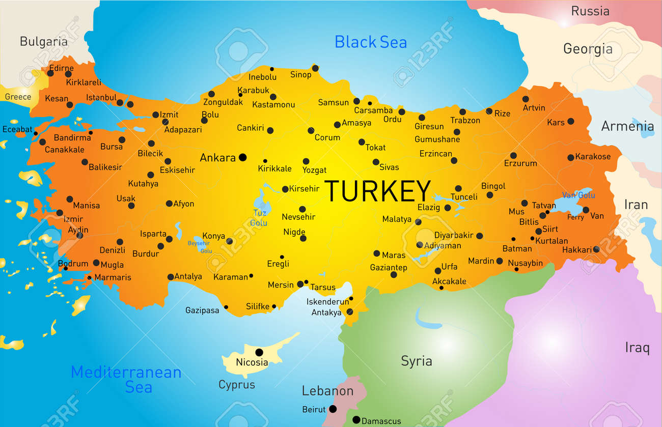 Vector Color Map Of Turkey Royalty Free Cliparts Vectors And - Turkey map