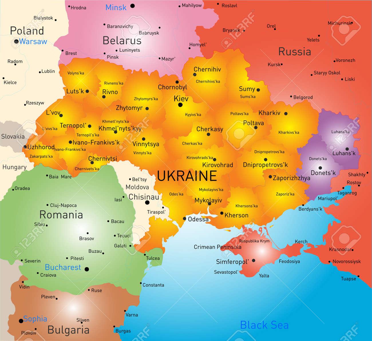New Vector Farbe Karte Von Ukraine Ohne Krim Und Ausgewahlt Donesk