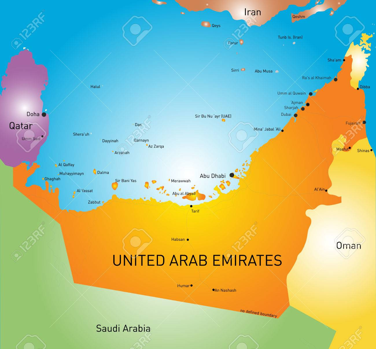 color map of united arab emirates stock vector 32615532
