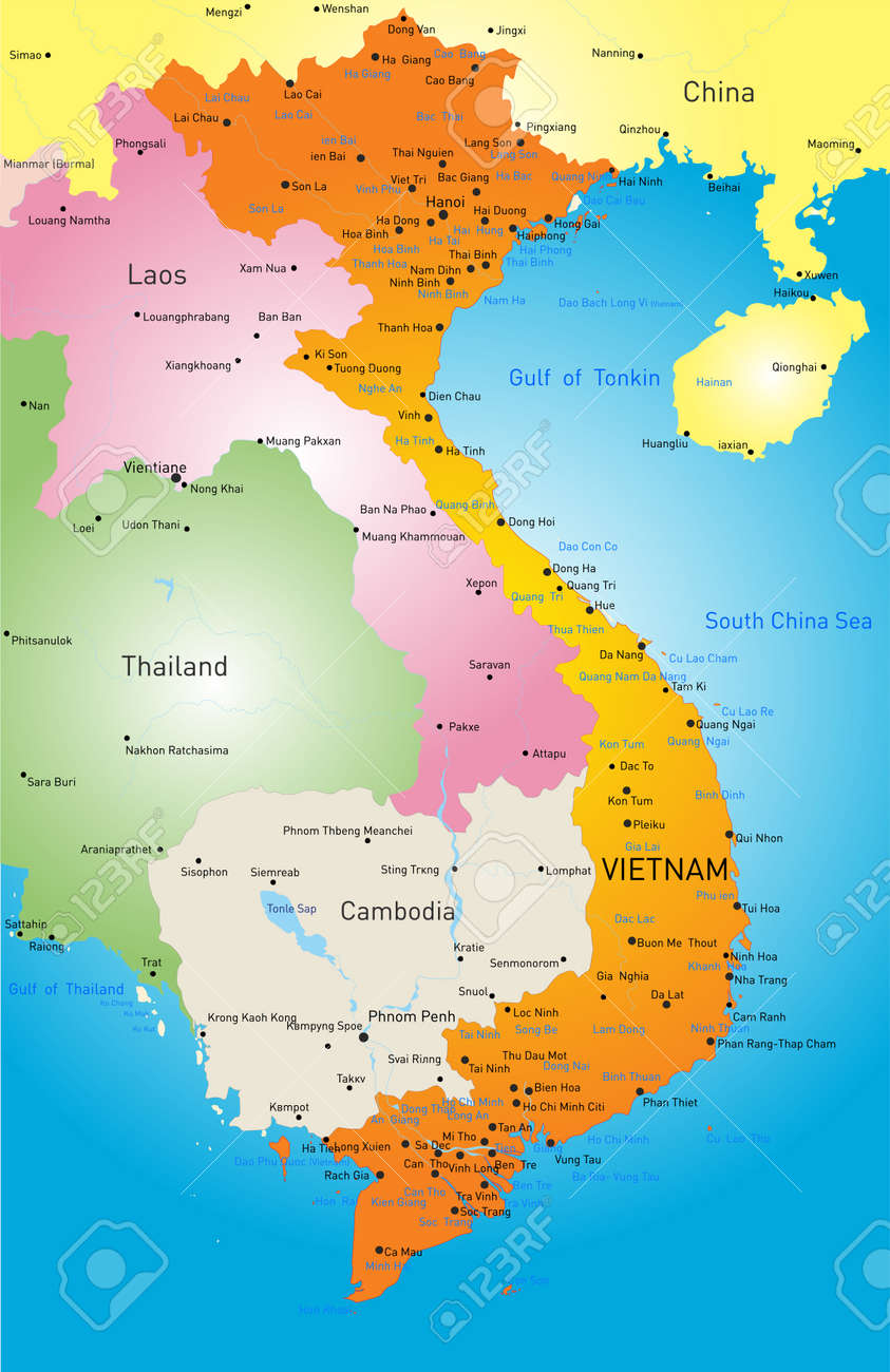 Color map of vietnam royalty free cliparts vectors and stock color map of vietnam sciox Image collections