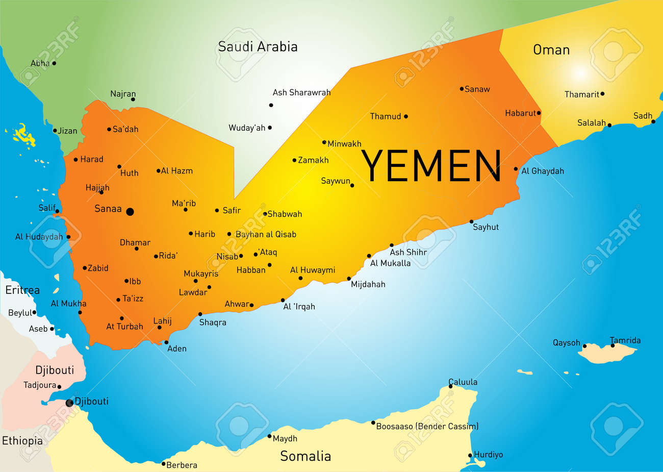 Color Map Of Yemen Royalty Free Cliparts Vectors And Stock - Map of yemen