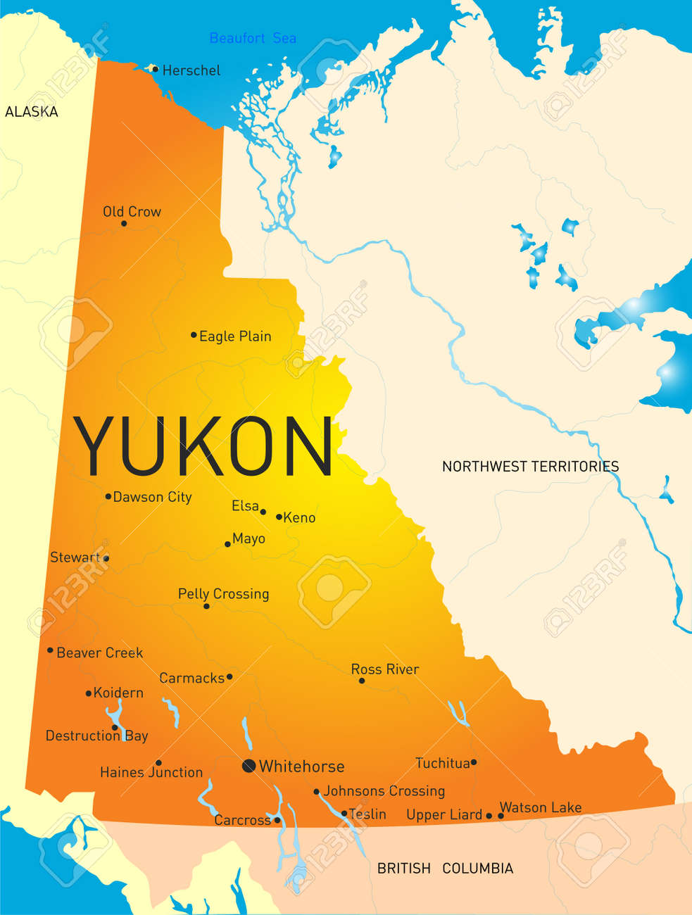 Yukon Province Color Map Royalty Free Cliparts Vectors And Stock - Yukon map