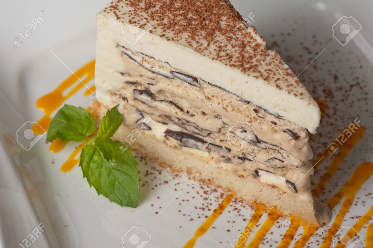 Italian Dessert Cake From Ice Cream Mascarpone Cheese Chocolate