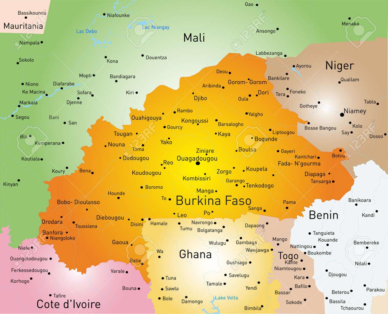 Vector Color Map Of Burkina Faso Royalty Free Cliparts Vectors And