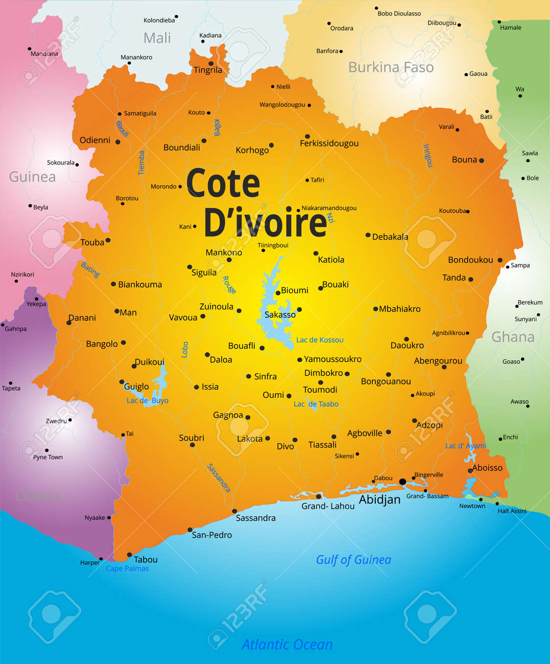 Vector Color Map Of Cote D Ivoire Country Royalty Free Cliparts ...