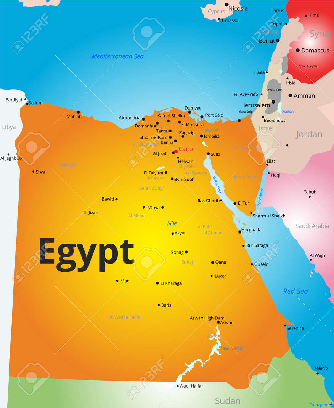 color map of Egypt country