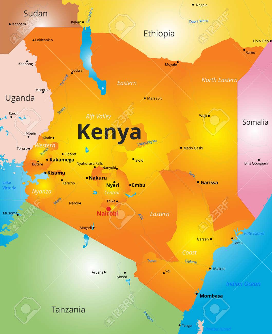 Ilustracion De Color Del Mapa Del Pais De Kenia Ilustraciones