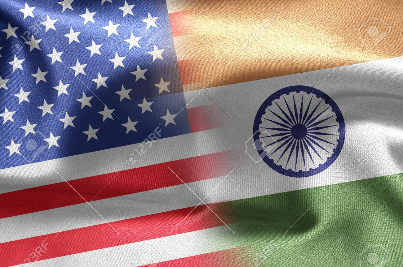 Flags of the United States and the India. Stock Photo - 12320339
