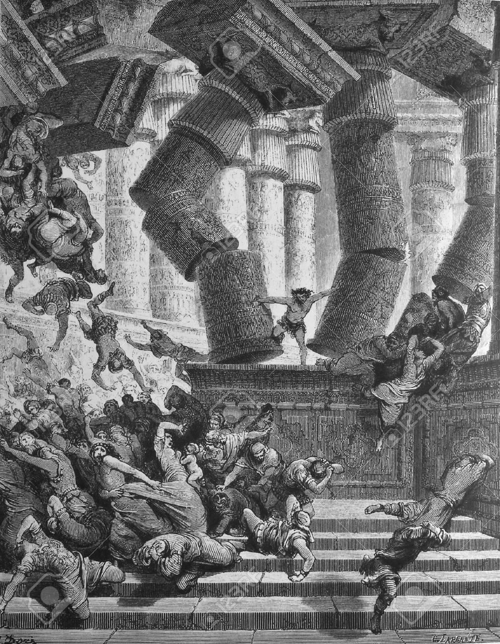 The death of Samson  1  Le Sainte Bible  Traduction nouvelle selon la Vulgate par Mm  J -J  Bourasse et P  Janvier  Tours  Alfred Mame et Fils  2  1866 3  France 4  Gustave Dor� Stock Photo - 12994128