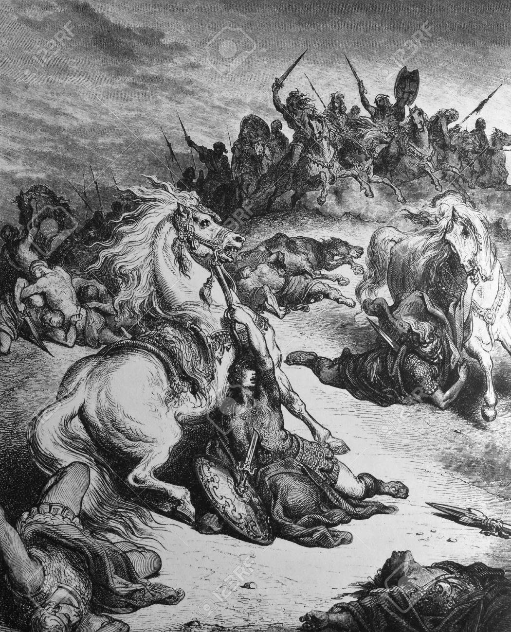 The death of King Saul  1  Le Sainte Bible  Traduction nouvelle selon la Vulgate par Mm  J -J  Bourasse et P  Janvier  Tours  Alfred Mame et Fils  2  1866 3  France 4  Gustave Dor� Stock Photo - 12994070