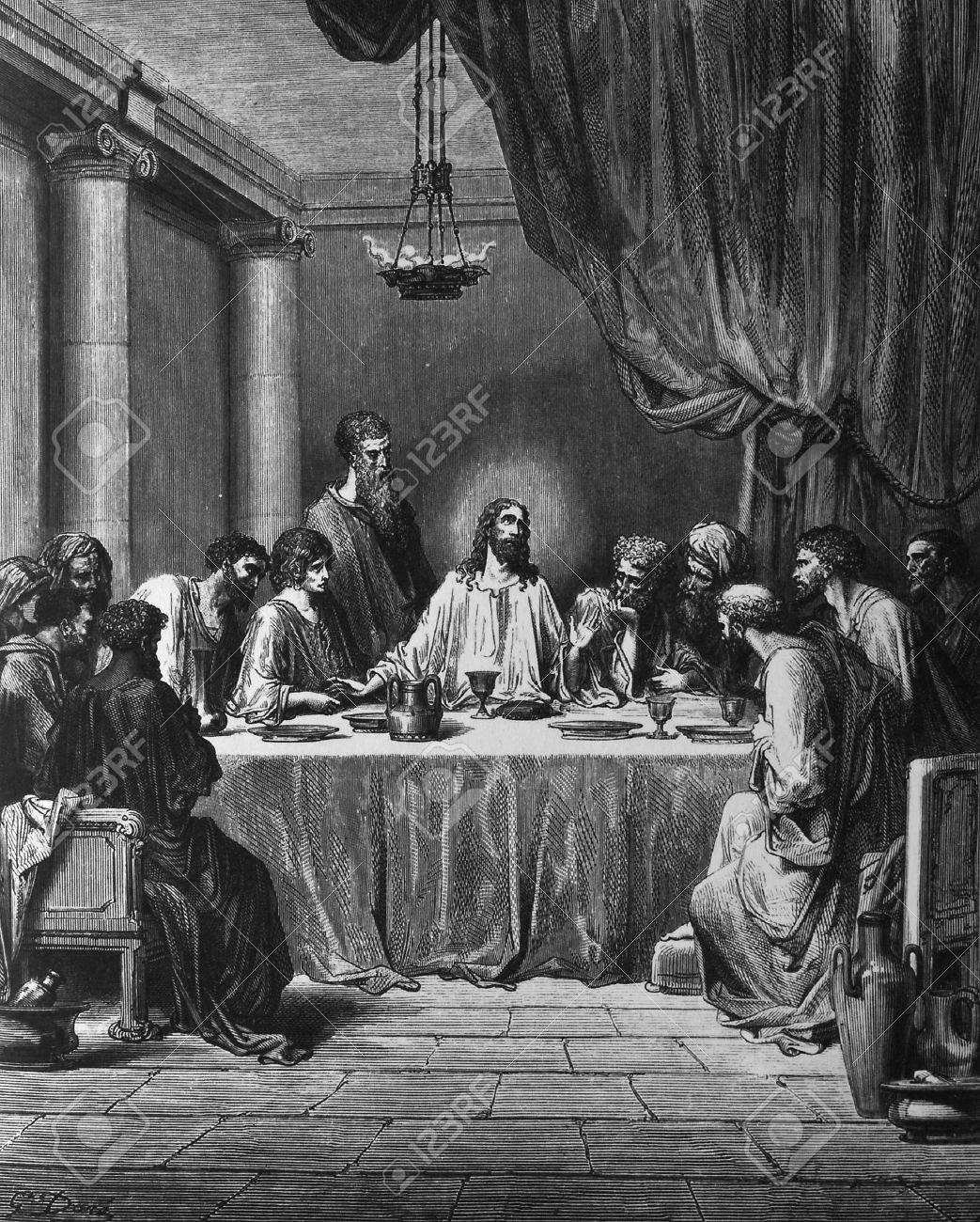 The Last Supper  1  Le Sainte Bible  Traduction nouvelle selon la Vulgate par Mm  J -J  Bourasse et P  Janvier  Tours  Alfred Mame et Fils  2  1866 3  France 4  Gustave Dor� Stock Photo - 12994068