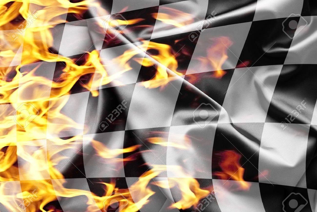 Finish flag on fire Stock Photo - 13572319