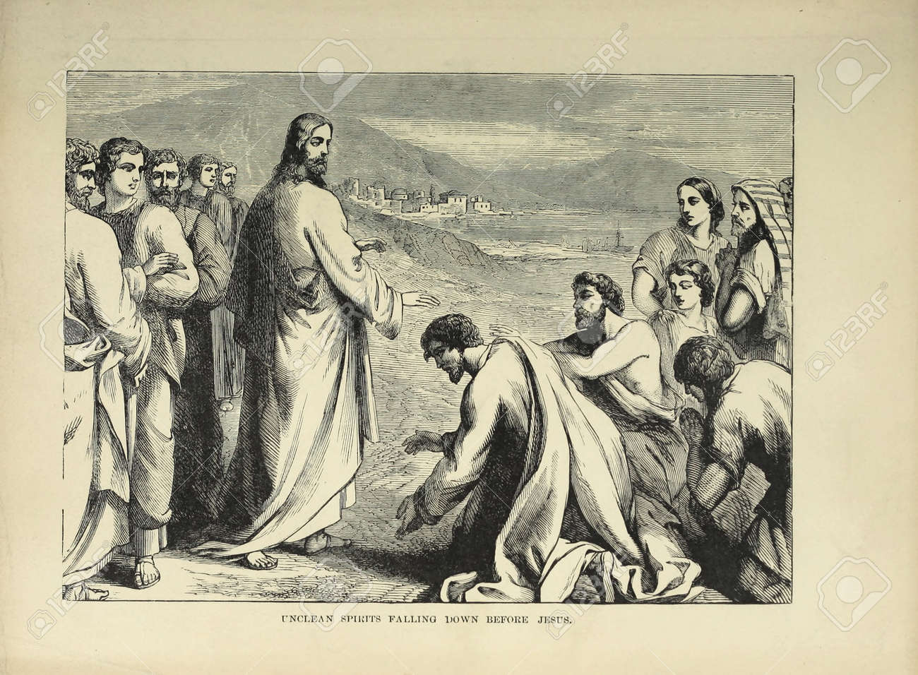 Christian illustration. Retro and old image - 125966117