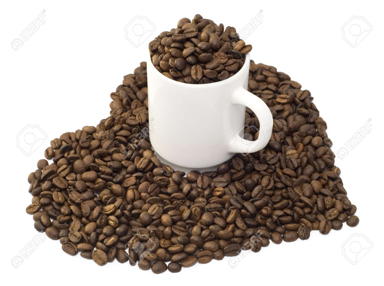coffee beans and cup isolated over white background Stock Photo - 2546319