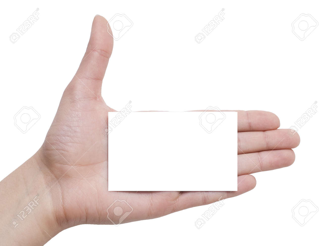 card in a hand isolated on white Stock Photo - 3019618