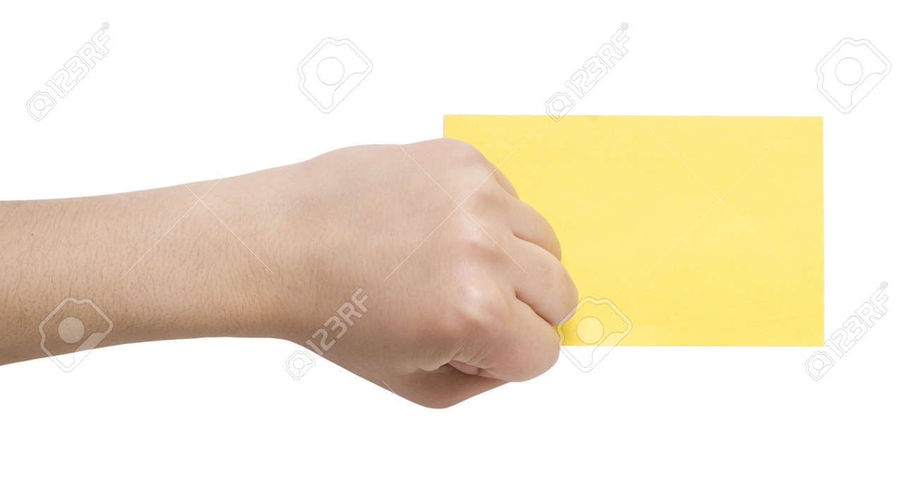 paper card and fist isolated on white Stock Photo - 3019579