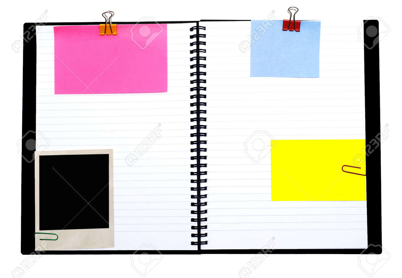 spiral notebook and empty notes isolated on white Stock Photo - 3262544