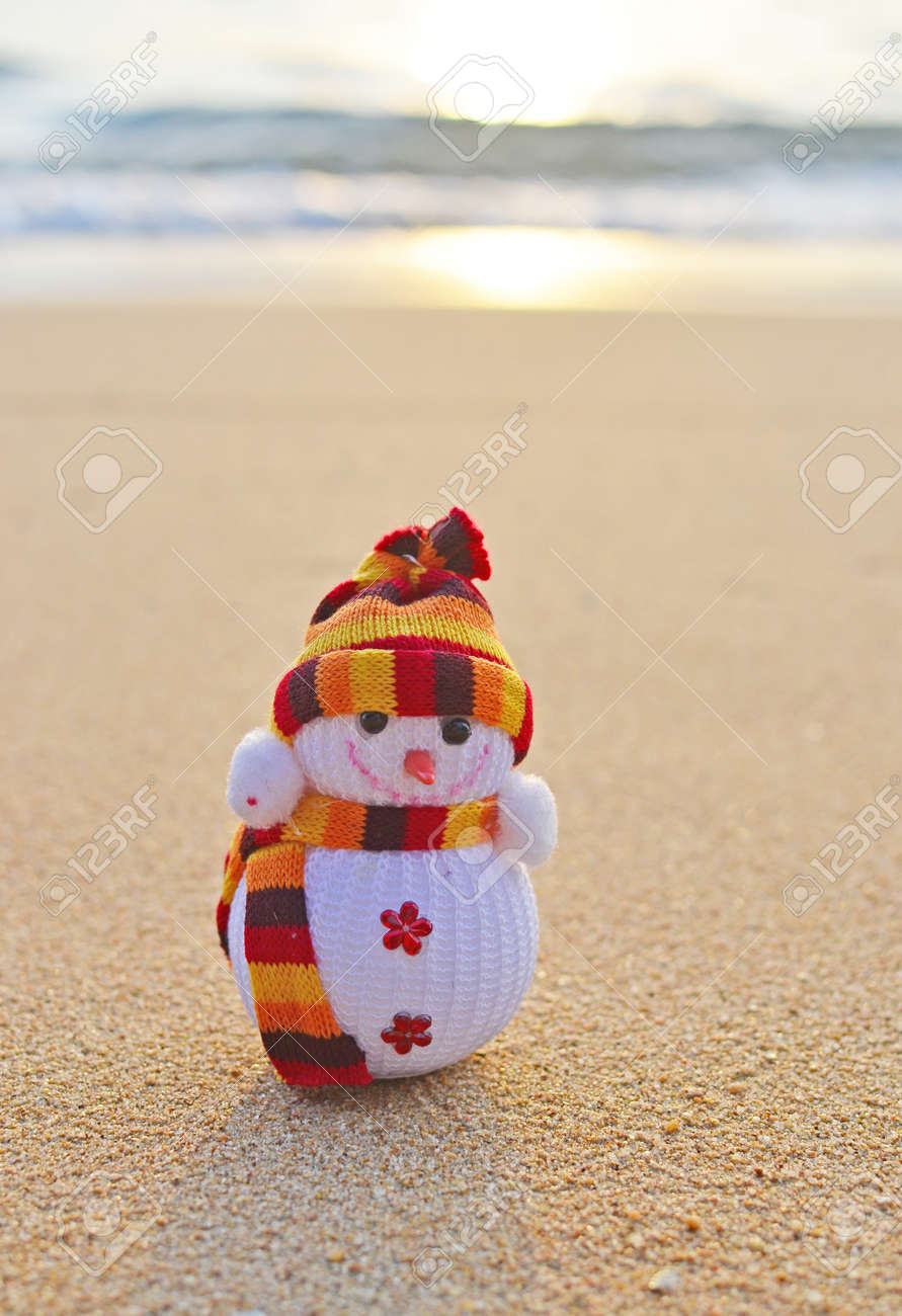 funny snowman on the beach Standard-Bild - 17987327