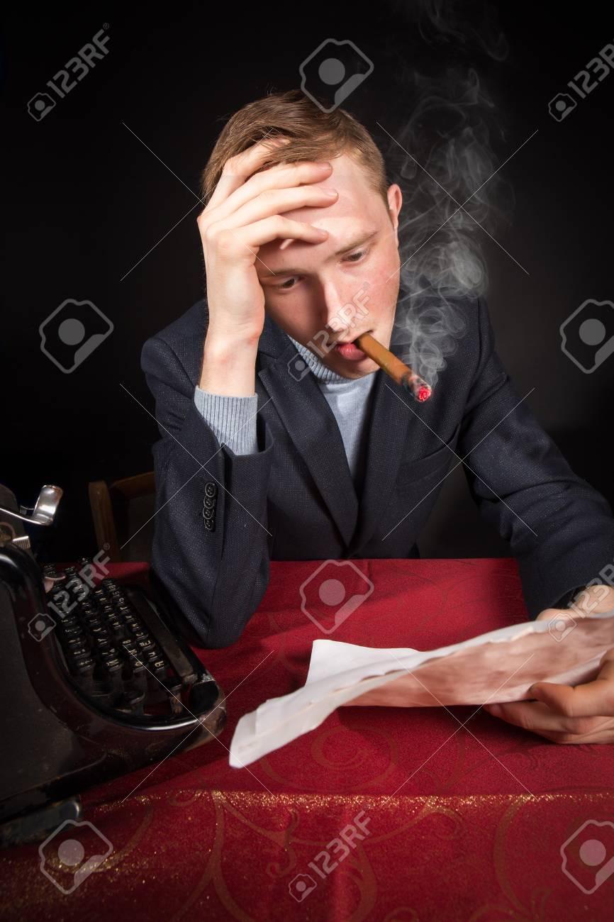 noir film journalist man at work Stock Photo - 18105287
