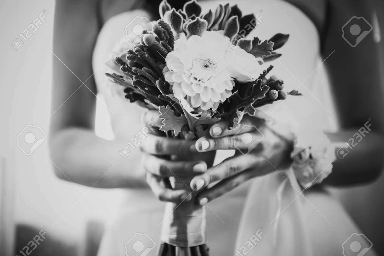 Black White Photography Beautiful Wedding Bouquet Of Flowers Stock