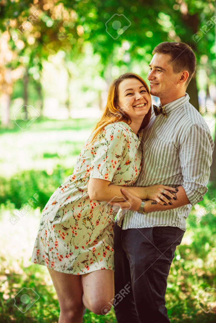 Beautiful couple on a natural background stock photo 85101306