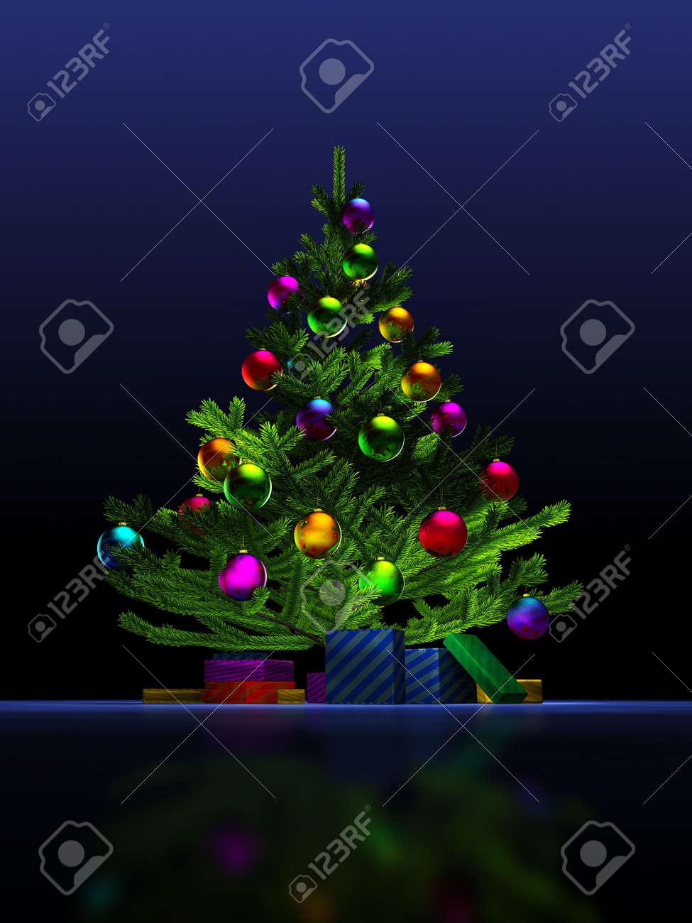 Big christmas tree on the dark blue background. 3D render. Illustration. Stock Illustration - 5109794