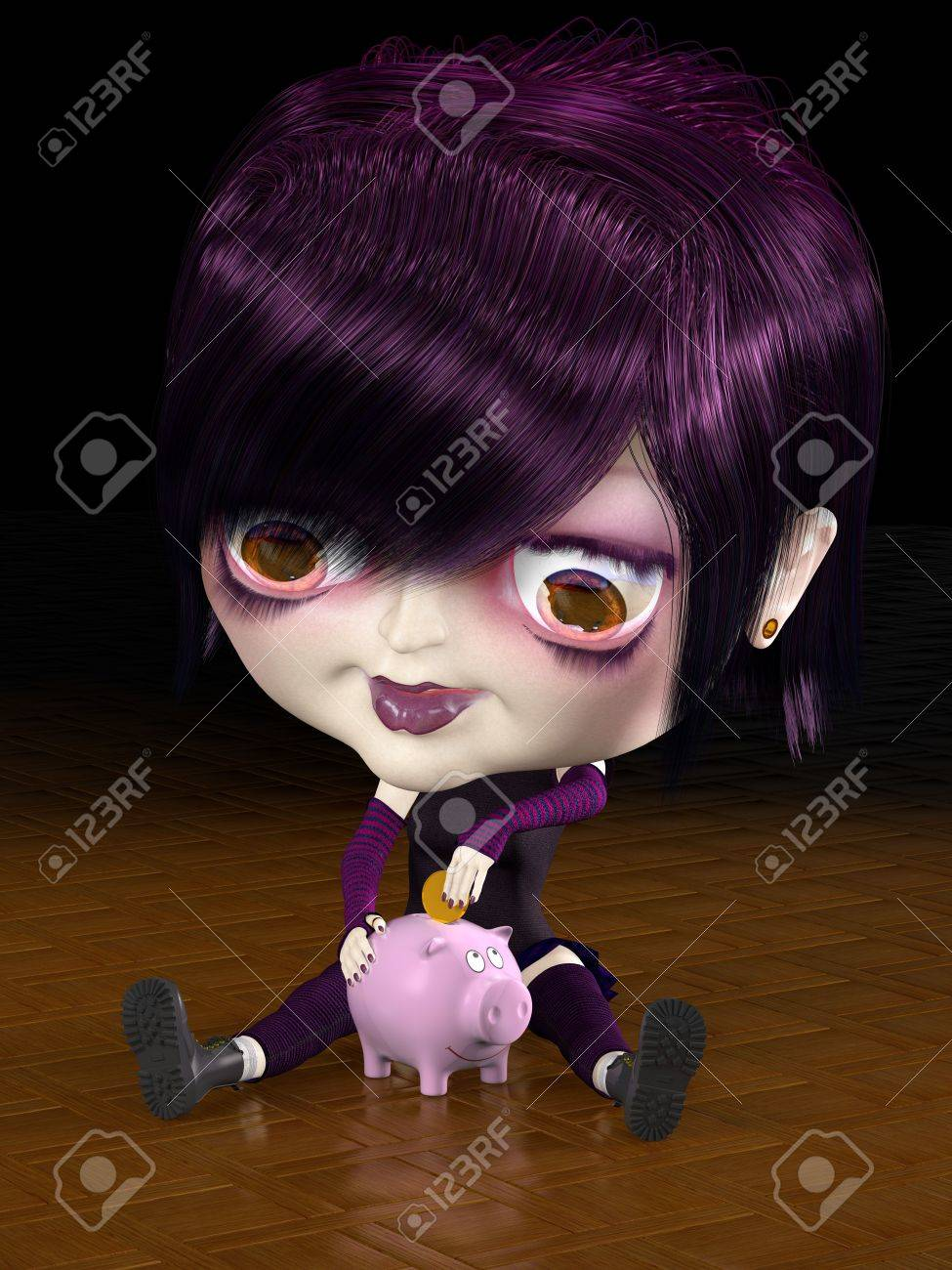 Girl with big head put gold coin to piggy bank. 3D render. Illustration. Stock Illustration - 5602170