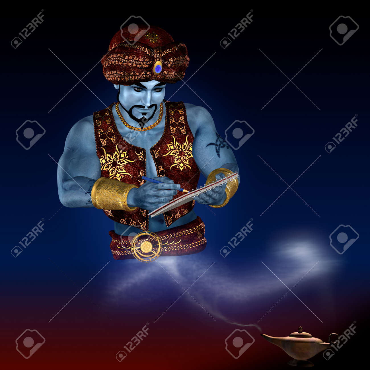 Genie from lamp with writing-pad. 3D render. Illustration. Standard-Bild - 5700315