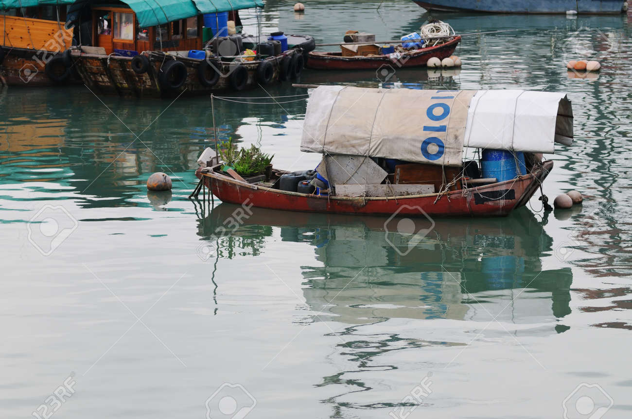 Boats in Aberdeein harbour, Hong Kong, China Stock Photo - 13206139