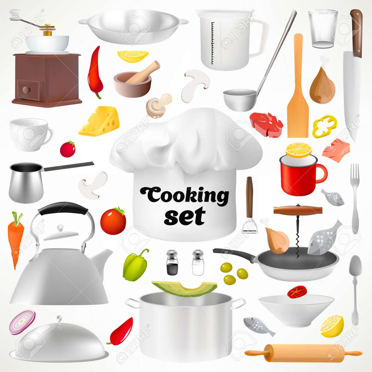 Set Di Utensili Da Cucina. Oggetti Isolati. Set Culinario ...