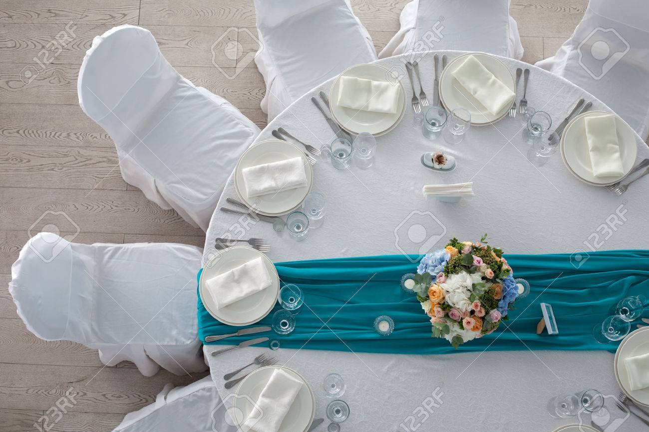 Elegance table set up for wedding in turquoise top view Stock Photo - 44869746 & Elegance Table Set Up For Wedding In Turquoise Top View Stock Photo ...