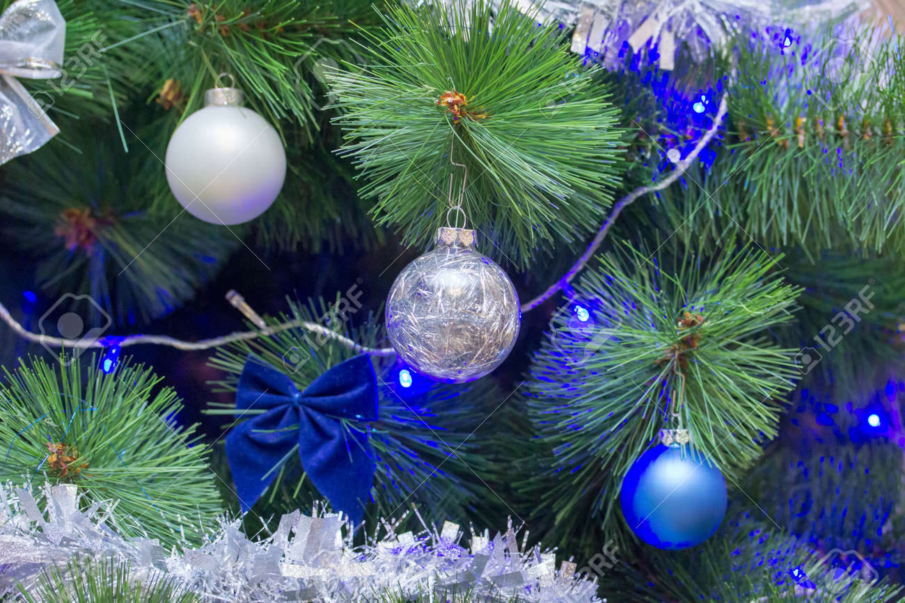 Christmas Tree Branch Decorated In Two Color Style White And Stock Photo Picture And Royalty Free Image Image 118281609