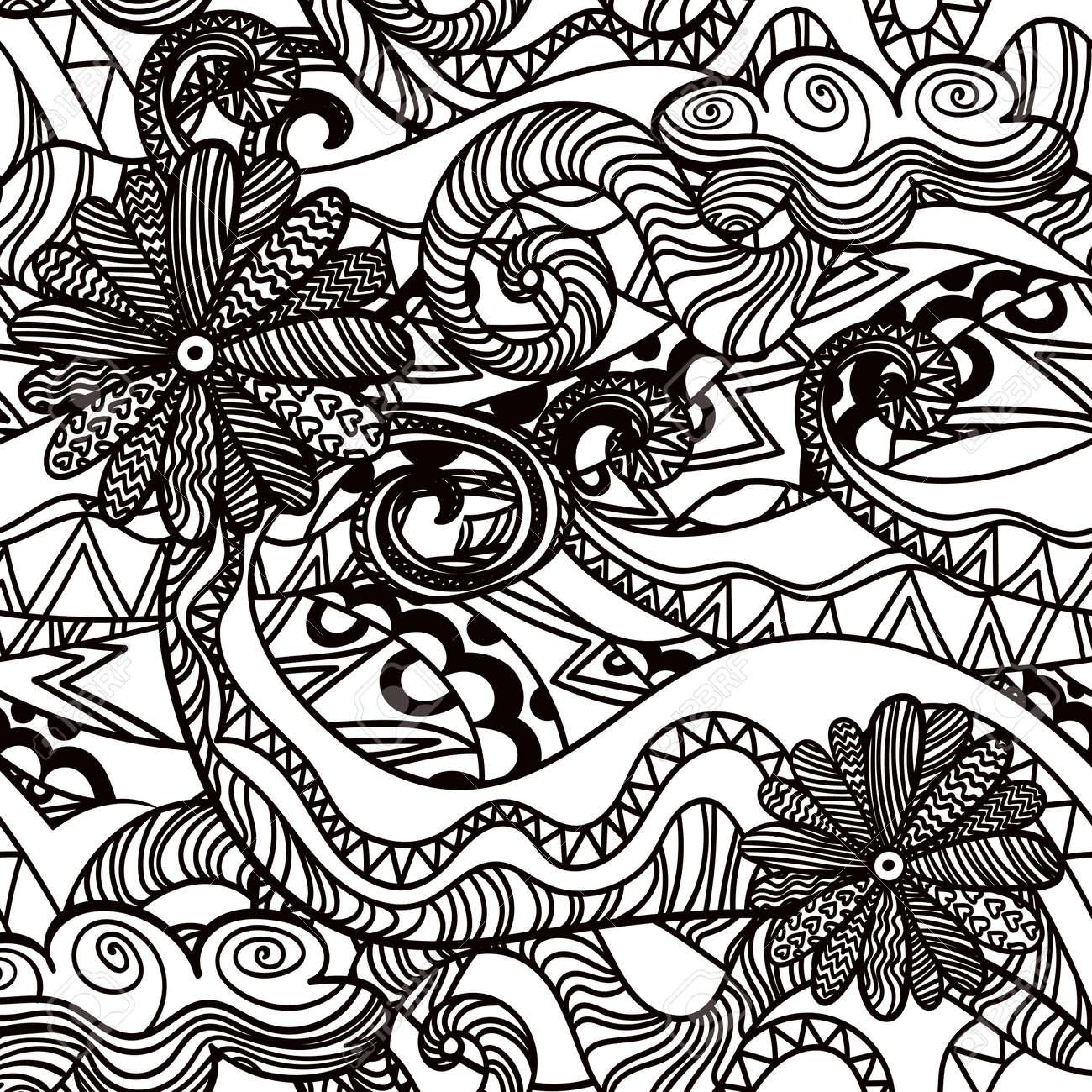 Illustration De Fond Artistique Vector Avec Un Dessin Au Trait Abstrait Noir Et Blanc Dessiné à La Main Coloriage