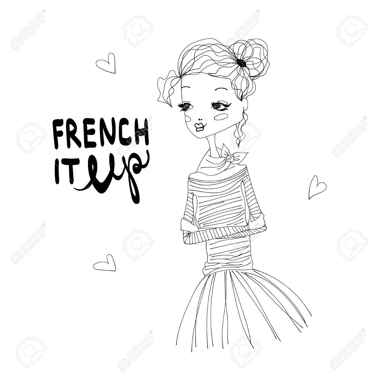 It Up Mode Française Illustration Avec Une Fille Française Mignonne Porter Bleu Longsleeved Chemise Et Rose Tutu Lettrage Noir Et Blanc Fashion