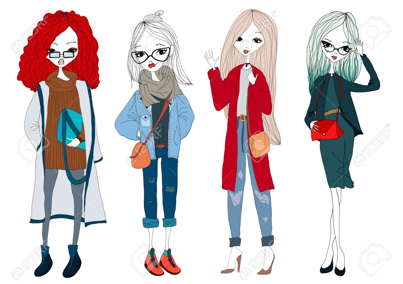 Trendy Kleding.Mode Meisje Collectie Met Vier Mooie Stijlvolle Meisjes Trendy
