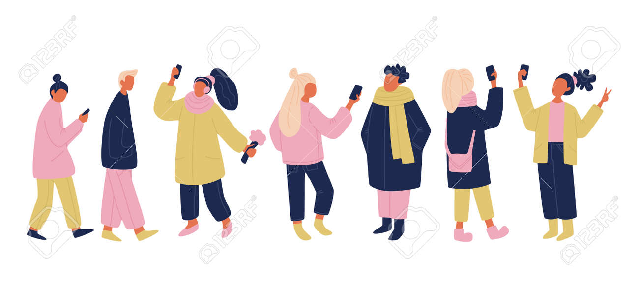 vector communicating people set in pink, yellow and blue colors. isolated vector people with phones and gadgets taking selfies, chatting, texting, walking. simple modern vector illustration of a crowd - 120066197