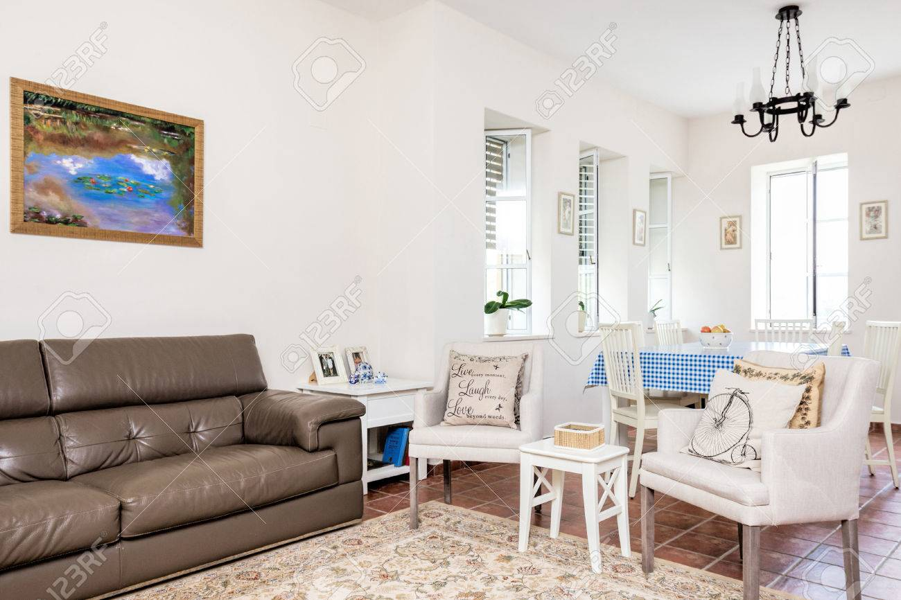 Modern Salon Provence Style With White Retro Chairs,brown Couch ...