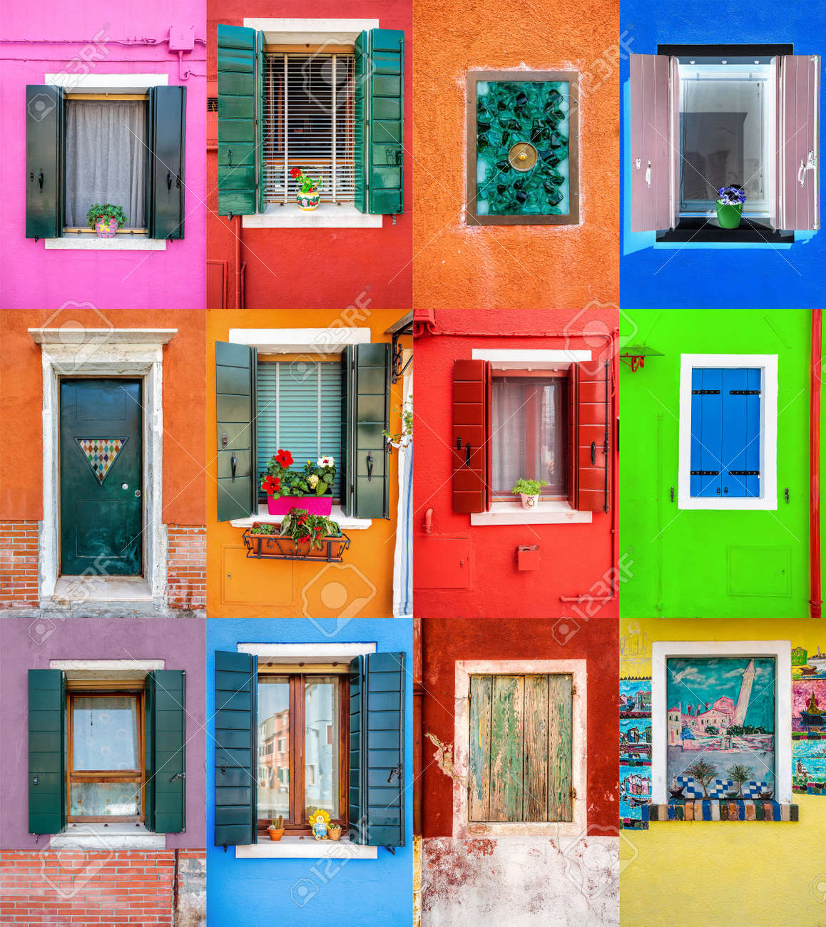 Collage set of 12 colorful windows and doors in picturesque island