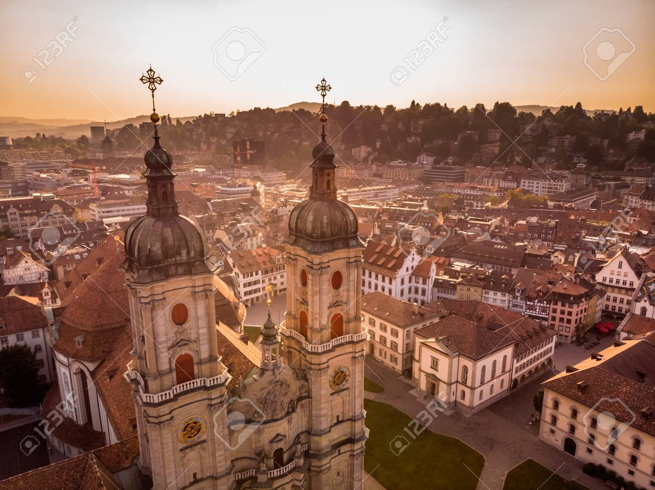 Beautiful Aerial View of St. Gallen Cityscape Skyline, Abbey Cathedral of Saint Gall in Switzerland - 106519373