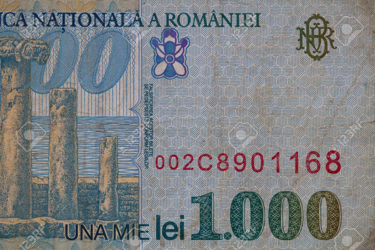 Closeup of 1000 Romanian lei banknote, 1996 Series - paper, for design purpose - 169672718