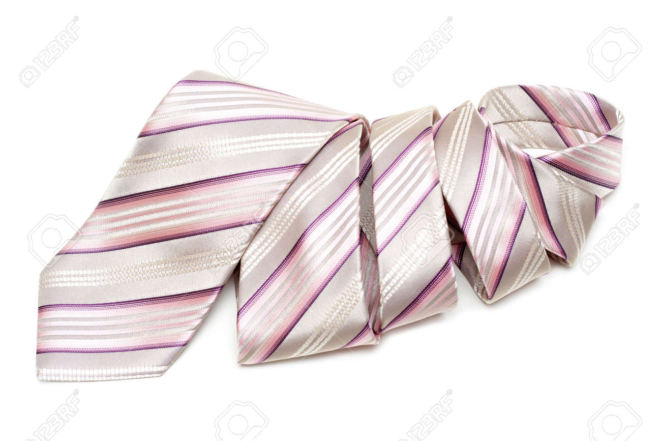 Rose striped tie convolute and is insulated on white background Stock Photo - 4905122