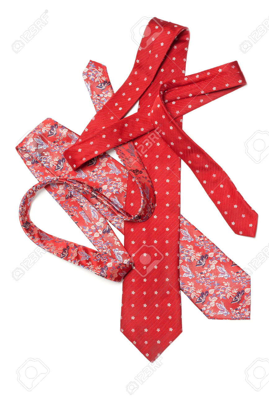 Male red ties strewn on white background Stock Photo - 5122282