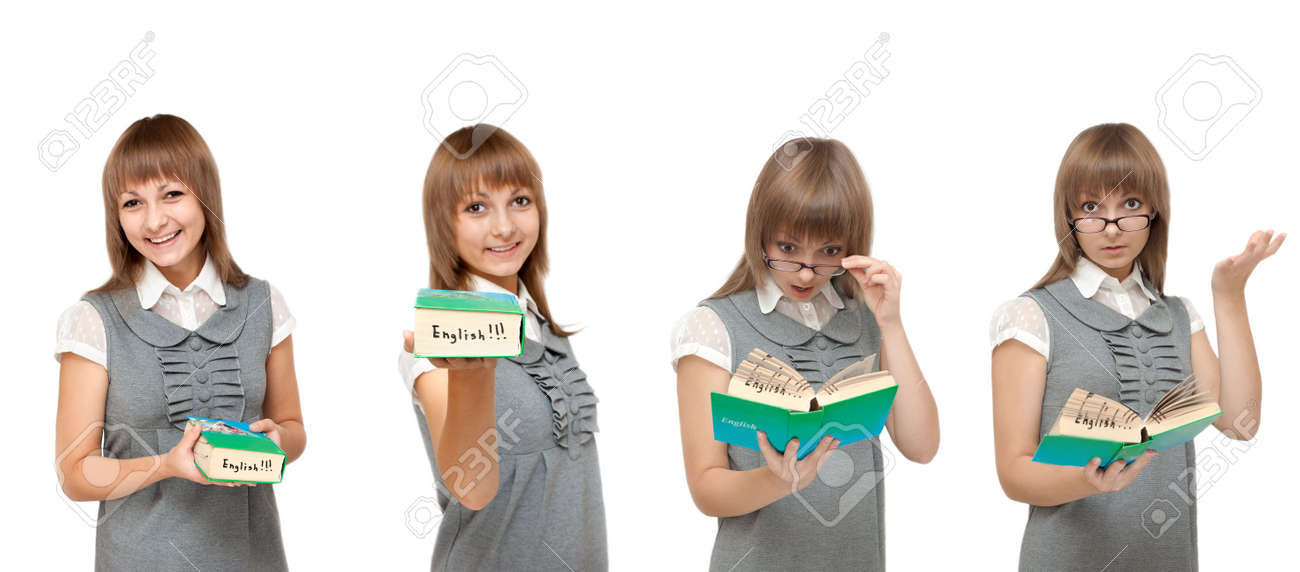 Girl with dictionary English reads on white background, emotions Stock Photo - 5885289