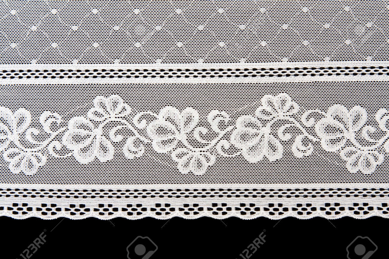 Decorative white lace on insulated black background Stock Photo - 8240152