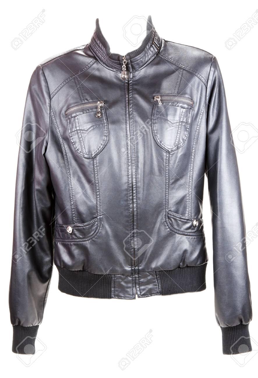 Black leather jacket insulated on white background Stock Photo - 8318992