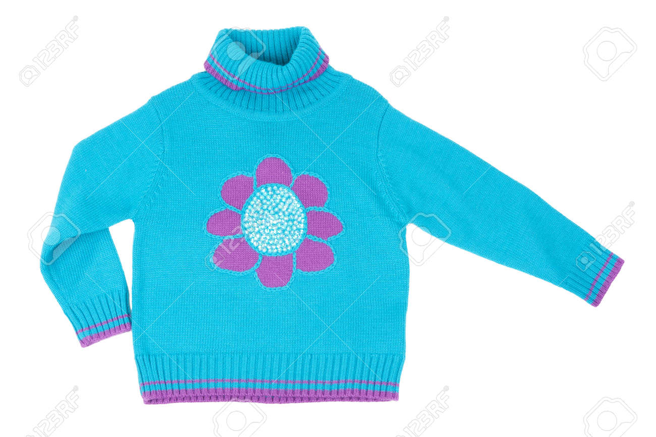 f8681d698092 Blue Children s Knitted Sweater With A Pattern On A White Background ...